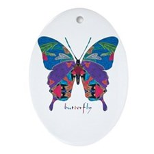 Exuberant Butterfly Ornament (Oval)