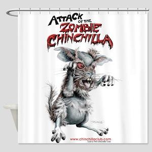 Attack of the Zombie Chinchilla Shower Curtain