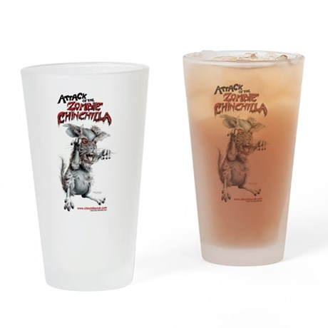 attack of the zombie chinchilla drinking glass by. Black Bedroom Furniture Sets. Home Design Ideas