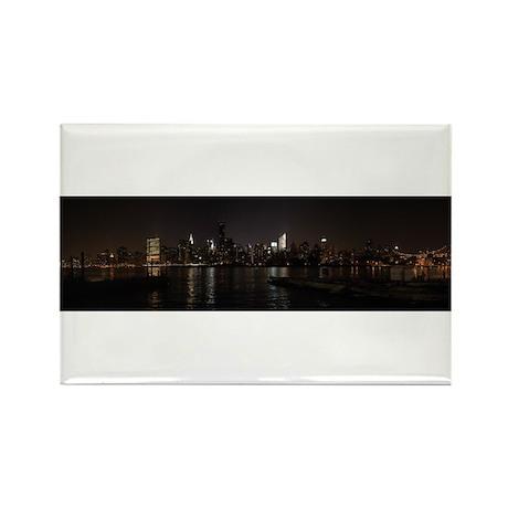 NIght Panoramic of New York City Rectangle Magnet