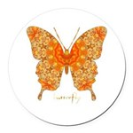 Jewel Butterfly Round Car Magnet