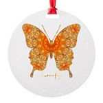 Jewel Butterfly Round Ornament