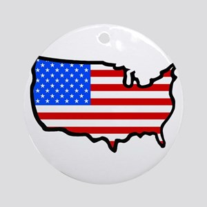 United States Flag Map Ornament (Round)