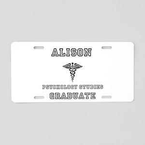 Alison Psych Grad Aluminum License Plate