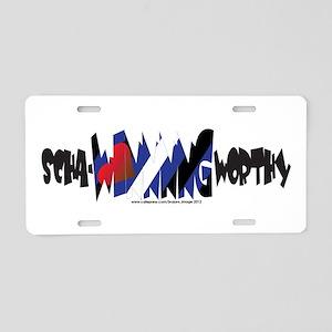 scha-WINNNG worthy leather Aluminum License Plate