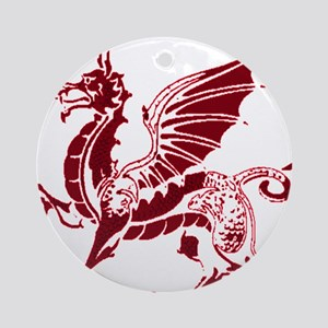 Two tone red and white dragon Ornament (Round)
