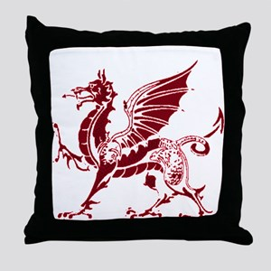 Two tone red and white dragon Throw Pillow