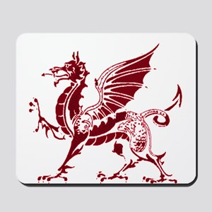 Two tone red and white dragon Mousepad