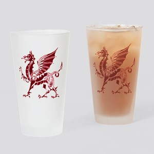 Two tone red and white dragon Drinking Glass