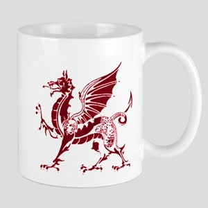 Two tone red and white dragon Mug