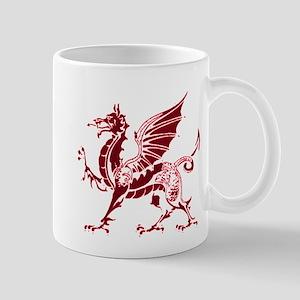 Two tone red and white dragon Mug