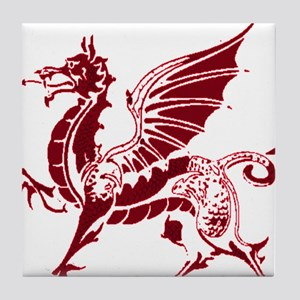 Two tone red and white dragon Tile Coaster
