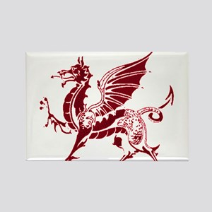Two tone red and white dragon Rectangle Magnet