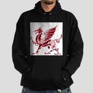 Two tone red and white dragon Hoodie (dark)