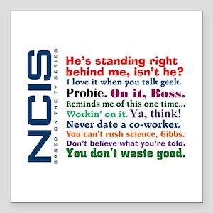 "NCIS Quotes Square Car Magnet 3"" x 3"""