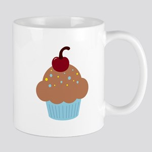 Blue and Brown Cupcake With a Cherry on Top Mug
