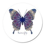 Insomnia Butterfly Round Car Magnet