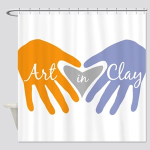 Art in Clay / Heart / Hands Shower Curtain