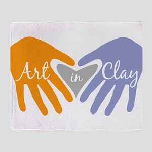 Art in Clay / Heart / Hands Throw Blanket