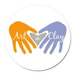 Art in Clay / Heart / Hands Round Car Magnet