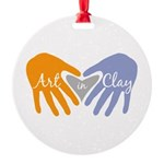 Art in Clay / Heart / Hands Round Ornament