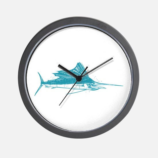 Sailfish Teal Wall Clock