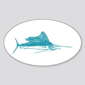 Sailfish Teal Sticker (Oval)