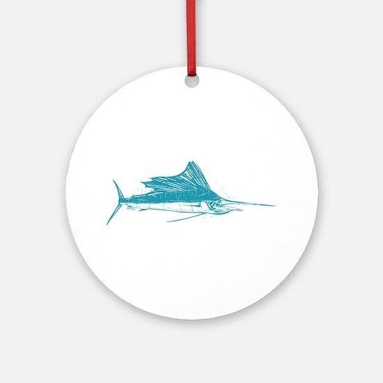 Sailfish Teal Round Ornament