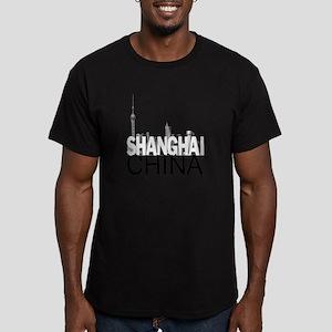 Shanghai Skyline Men's Fitted T-Shirt (dark)