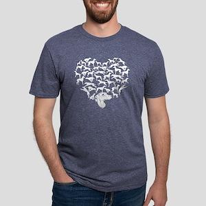 Whippet Heart T-shirt Mens Tri-blend T-Shirt