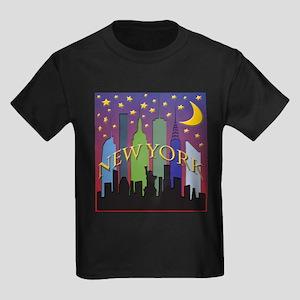 New York City Skyline rainbow Kids Dark T-Shirt