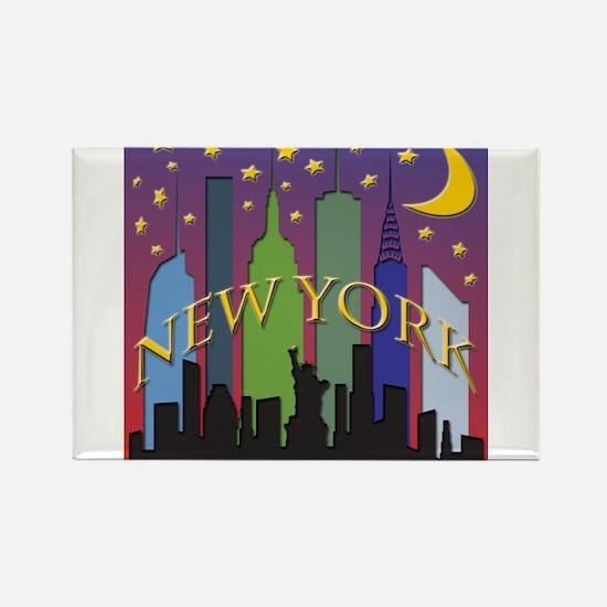 New York City Skyline rainbow Rectangle Magnet