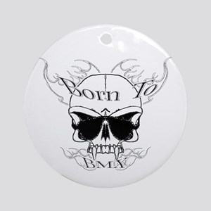 bmx,flaming skull Ornament (Round)