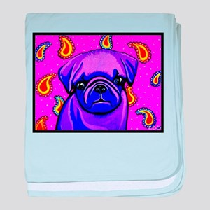 Purple Pug baby blanket