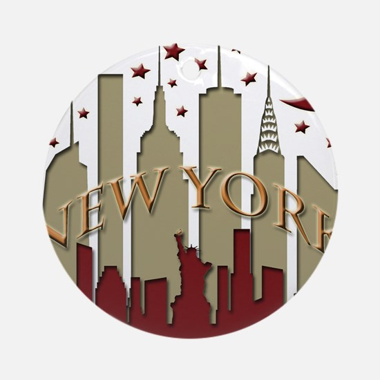 New York City Skyline hot Ornament (Round)