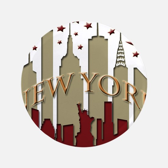 "New York City Skyline hot 3.5"" Button"