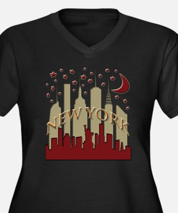 New York City Skyline hot Women's Plus Size V-Neck