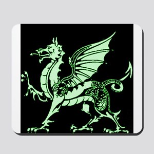 Emerald Green and Black Dragon Mousepad