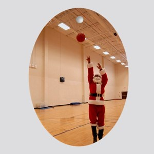 Basketball Santa Ornament (Oval)