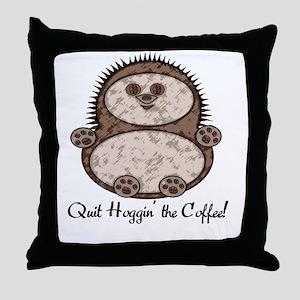Hedgehoggin' the Coffee! Throw Pillow