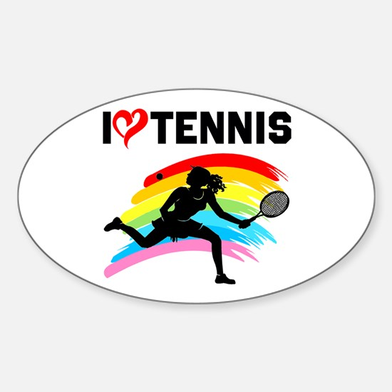 I LOVE TENNIS Sticker (Oval)