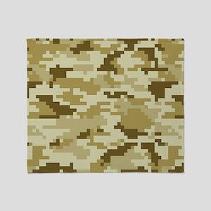 8 Bit Pixel Desert Camouflage Throw Blanket