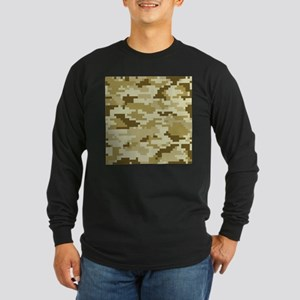 8 Bit Pixel Desert Camouflage Long Sleeve Dark T-S