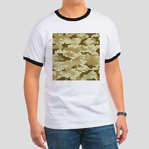 8 Bit Pixel Desert Camouflage Ringer T