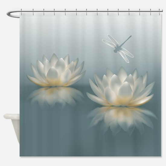 Lotus and Dragonfly Shower Curtain