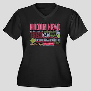 Hilton Head Women's Plus Size V-Neck Dark T-Shirt