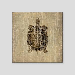 "Vintage Turtle Square Sticker 3"" x 3"""