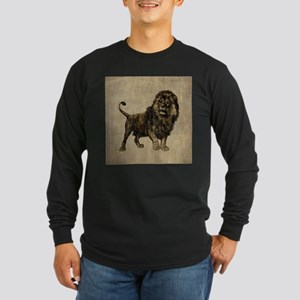 Vintage Lion Long Sleeve Dark T-Shirt