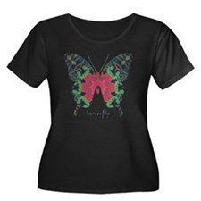 Yule Butterfly Women's Plus Size Scoop Neck Dark T