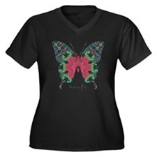 Yule Butterfly Women's Plus Size V-Neck Dark T-Shi